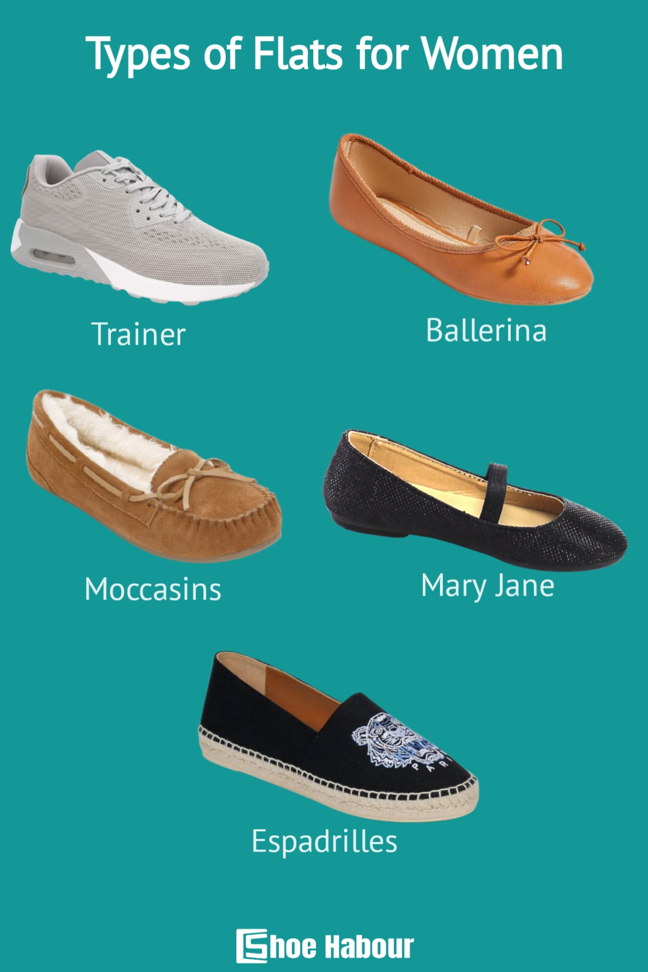 Types of women's flat shoes