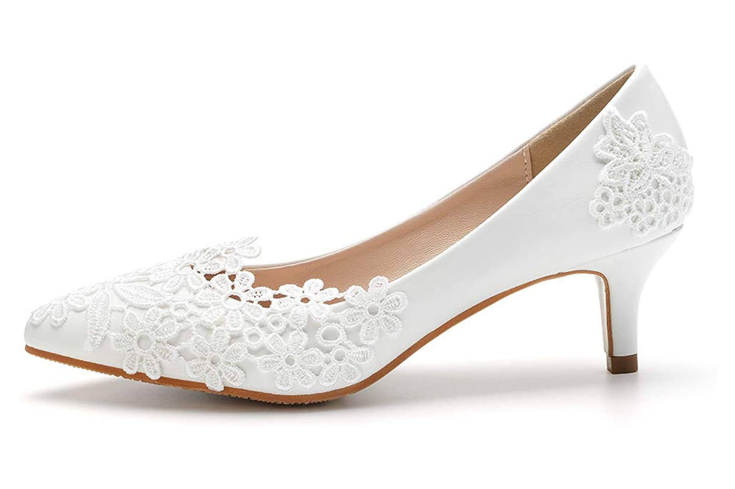 Best closed toe wedding shoes with low heel