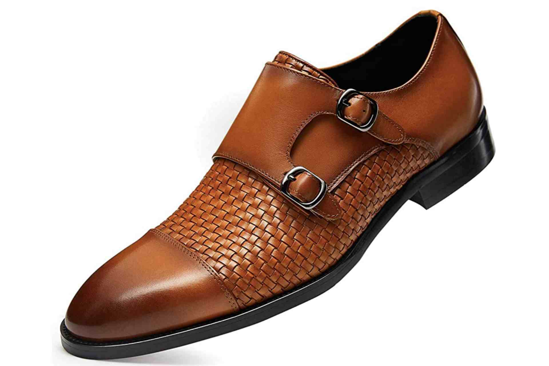 High-quality brown leather Monk Strap shoes for men