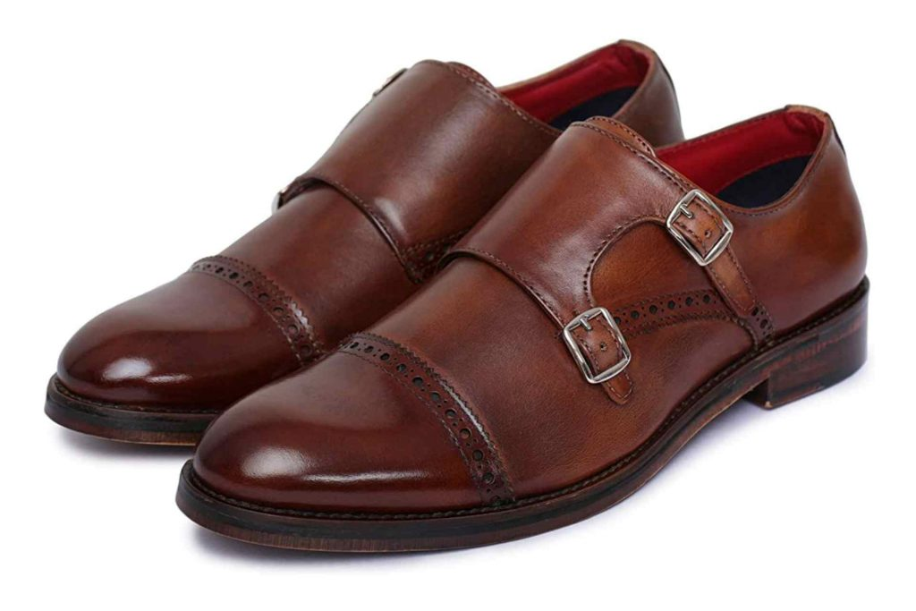 Quality brown Monk Strap shoes for men